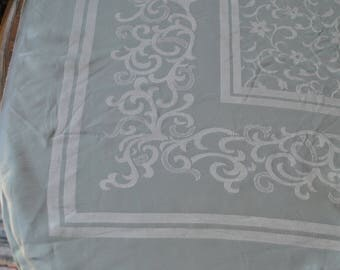 Vintage Light Mint Green and Silver MCM Mid-century Modern Tablecloth Reversible 1950s New