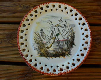 Reticulated plate LINCOLOR decor duck - vintage plate - hand painted- made in France-