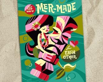 We Were Mer-Made, Valentine Card, Spireside Candles, Hula Girl, Tiki Bar, Mermaids, Hawaiian, Tiki, Island Print, Love, Beach, Jeff Granito
