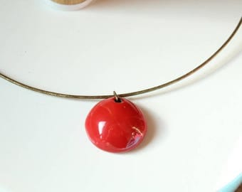 the bronze Pearl Choker necklace red handcrafted ceramic
