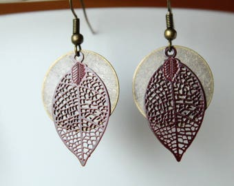 Bronze filigree round and Brown leaves earrings