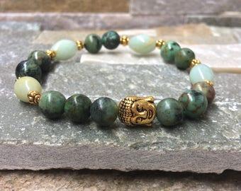 Buddha bracelet African turquoise mala Gold Bracelet