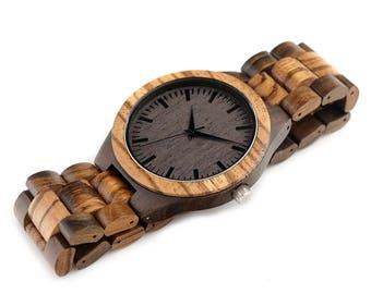 Men's Watch Natural Wood Bamboo High Lights Black Detail