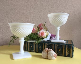 Westmoreland English Hobnail Milk Glass Champagne Glasses