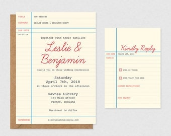 Library Card Printable Wedding Invitations