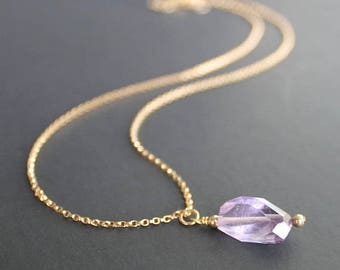 Amethyst Pendant 14k Gold Necklace, Pink Amethyst Necklace, Amethyst Jewelry, February Birthday Necklace