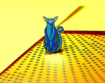 Happy Cat Enamel Pin, Blue Cat Enamel Pin, Cat Totem Enamel Pin, Blue Cat Lapel Pin, Siamese Cat Enamel Pin, Smiling Cat Pin