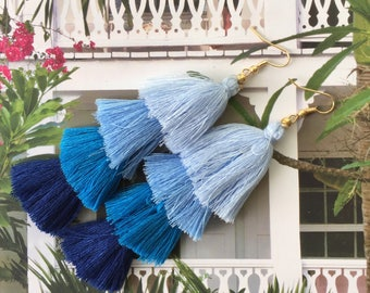 "The ""Raleigh"": Ultra-Light blue Ombre Stacked / Tiered Tassel Earring"