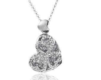 Platinum Angled Heart Necklace