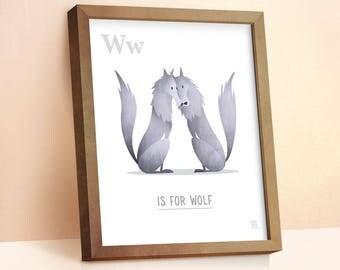 Wolf Print | Nursery Animal Print | Alphabet letters | Alphabet Print | ABC letters | Animal Prints for Nursery | Nursery Wall Art |