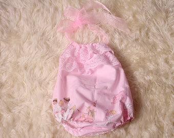 Photographers Prop,Newborn/Sitter sizes cotton pink Michael Miller Magic Parade Fabric halter neck Cake Smash,Bodysuit,elasticated leg,