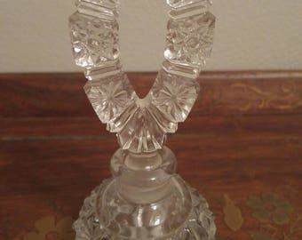 Vintage Chiseled Glass Perfume Bottle