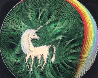 "Vintage Rainbow/Unicorn String Art from the 70's 18""X18"""