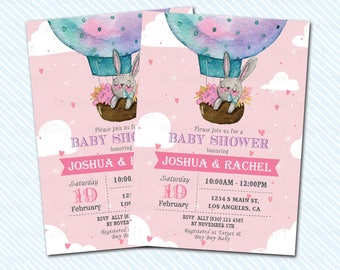Digital Printable baby Shower Invitation. Rabbit invitation