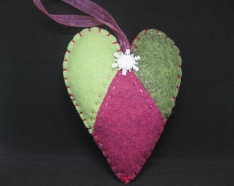 Felt Heart Patchwork Christmas Ornament Set of 2