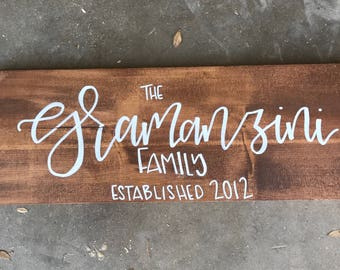 Established Sign - Family Sign - Custom Sign - Hand Lettered - Wedding - Anniversary Gift - Engagement Gift - Gift for Her