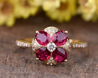 Natural ruby engagament ring 14K rose gold diamond wedding band VS ruby ring 3x4.5mm oval ruby wedding ring delicate floral promise ring