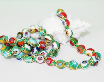Necklace, necklace and earrings, Murano glass beads, Millefiori beads, colored beads, length 61 cm
