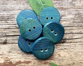 Blue Broom Stick Buttons // Set of 6 Buttons // Upcycled Broom Handle Buttons //