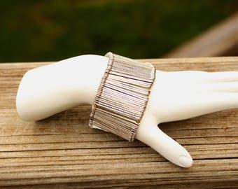 Vintage Silver Streak Cuff Bracelet