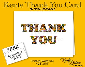"DIY - Kente Thank You Note Card - Finished folded size: 5.5"" x 4.25"" - Digital Download - 2-up on 8.5"" x 11"" - JPG Files - Style KMTYC"