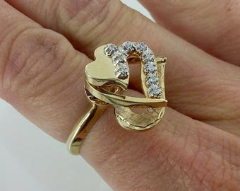 Vintage 14k Hearts and Diamonds Motion/Spinning Ring, Sz 6