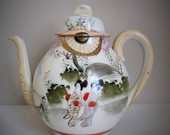 Vintage Japanese Hand Painted Tea Pot Teapot, Satsuma Style FIne Porcelain, Geisha Ladies in landscape, Japan