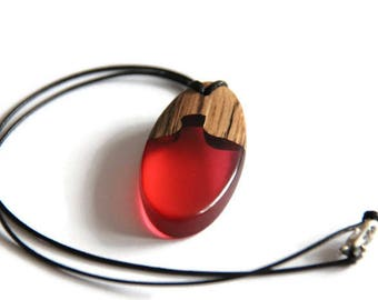 wooden pendant costume jewelry / wooden necklace and Red pendant resin jewelry trend man or woman
