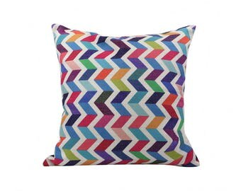 Chevron decorative pillow cover Rainbow throw pillow covers Ethnic pillow cases Rustic cushion cover Home decor gift 18x18