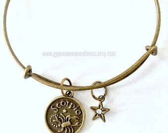 Passionate Scorpio Zodiac Bronze Adjustable Bangle Charm Double Sided Astrology Charm Star Signs Handmade Jewelry Free Shipping