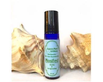 Manifest Pure Essential Oil  Aromatherapy Roll on Blend Cypress, Lavender, Lemon, Fir, Patchouli Natural Body Oil Earthy & Invigorating