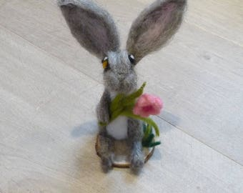 Hare, Felt Hare,Needle felt Hare, Woodland animal