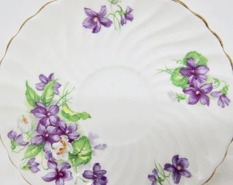 Aynsley Orphan Bone China Swirl Saucer Violets Floral Pattern C1197 Replacement Saucer Only No Teacup