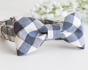 Dog BowTie Collar - Mr. & Mrs. PAWSOME - in a hypnotic canvas plaid