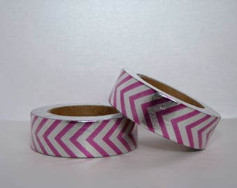 Foil Washi Tape pink and silver masking tape 10 m gift wrapping decoration wedding scrapbooking