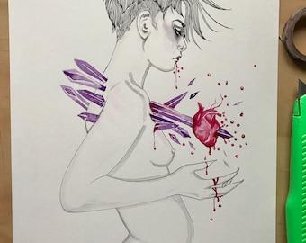 Rutilated~ Original Watercolor and Ink Illustration
