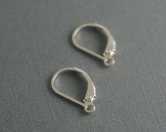 1 pair (2 pieces) sterling silver .925 lever back earring wires