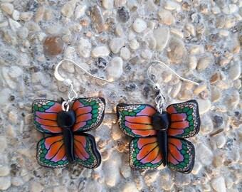 Earrings Butterfly Orange polymer clay
