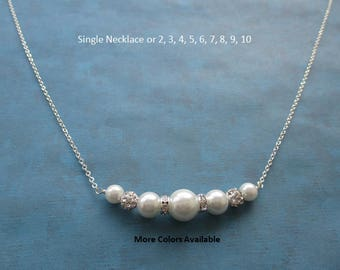 Bridesmaid Pearl & Crystal Rhinestone Necklace-Bride jewelry-Maid of Honor jewelry-Mother of the Bride gift-Bridal Party gift-Wedding, N1747