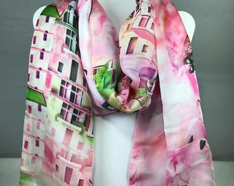 Infinity Scarf--Pink Butterflies