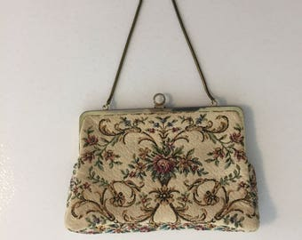 Walborg West German Tapestry Minaudiere Purse, Cream Pink Floral Rose, Petit Point Bag, Metal Chain, Clutch Purse