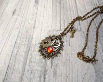 """Collier sautoir steampunk bronze engrenage cadenas clé, """"Boîte à secrets"""""""
