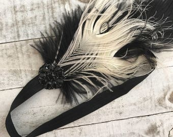 SALE - Black feather flapper girl headband, Great gatsby head piece, roaring 1920, headband, downton abbey