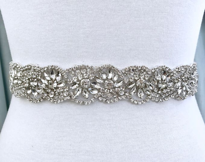 Silver crystal Bridal Belt, Bridal Sash, Wedding Belt, Wedding Sash Rhinestone prom belt