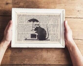 Print BANKSY Office rat antique book page - landscape