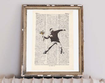 Print Banksy-Flower anarchist-on antique page
