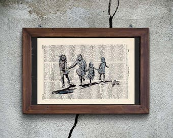 Print - PASQUINI - RUNNING GIRLS - antique book page