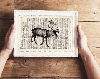 Pressure - REINDEER No.. 2 - antique book page