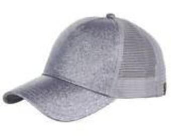 CC Silver Glitter Ponytail Cap - Pony Tail Hat