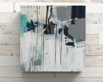"""Small abstract painting, small abstract painting, sea art, wall art, ikouart, small canvas, square painting, 8 """"x 8"""" x 1, 5 """"Isabelle Couture"""